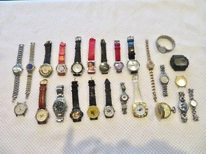 【送料無料】lot of 25 men amp; womens quartz wristwatches some working, some not 6