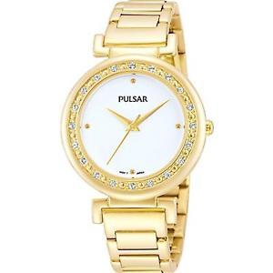 【送料無料】pulsar womens 31mm gold plated bracelet amp; case quartz analog watch ph8104x1