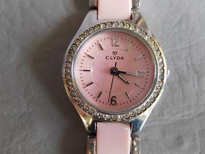 【送料無料】clyda montre bracelet grise acier inox rose oxyde de zirconium femme woman watch