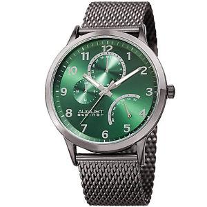 mens august steiner as8230gn 24 hour indicator date steel mesh bracelet watch