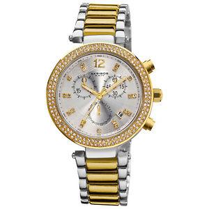 【送料無料】 womens akribos xxiv ak529tt twotone swiss chronograph crystal bezel watch