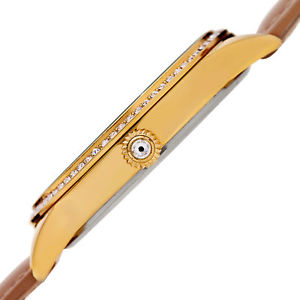 womens burgi bur184tn crystal dual time mother of pearl tan leather strap watch