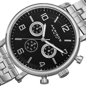 mens akribos xxiv ak800ssb quartz chronograph silvertone stainless steel watch