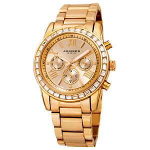 【送料無料】womens akribos xxiv ak943yg 24 hour indicator swarovski crystal bezel watch