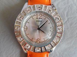 【送料無料】guess montre bracelet cuir orange grise acier ronde strass femme woman watch
