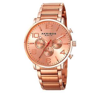 【送料無料】 mens akribos xxiv ak803rg swiss multifunction rosetone bracelet watch
