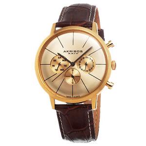 mens akribos xxiv ak647yg swiss quartz multifunction brown leather watch