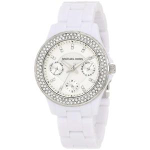 【送料無料】michael kors womens mini madison white acrylic fashion wristwatch os bhfo 8001