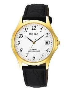 【送料無料】pulsar pxh566x1 gents steelgold plated leather strap 100m water resistant watch