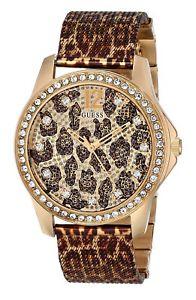 【送料無料】neues angebotguess womens u0333l1 animal print mesh goldtone watch