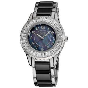 【送料無料】 womens burgi bur066bk quartz baguette bezel ceramic bracelet watch