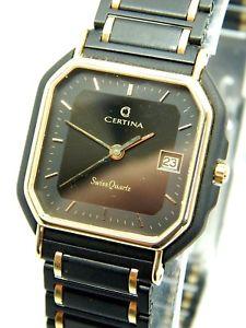 【送料無料】vintage swiss made certina stainless steel quartz watch with gift box nos