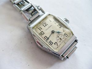 【送料無料】early vtg waltham mens art deco dress wristwatch~original bracelet~1934