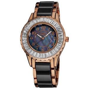 【送料無料】womens burgi bur066bkr baguette bezel mother of pearl ceramic bracelet watch