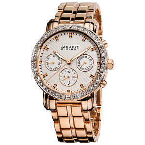 womens august steiner as8041rg swiss quartz multifunction crystal bezel watch