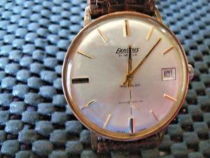 【送料無料】exactus rose gold plated date watch working no damage 1960s strap no8200