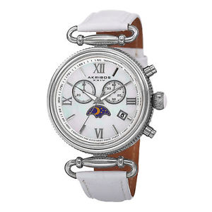【送料無料】womens akribos xxiv ak754ssw swiss chronograph moonphase genuine leather watch