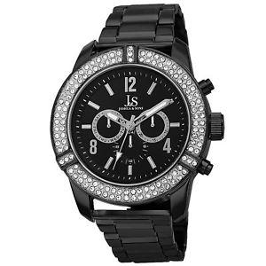 【送料無料】 mens joshua amp; sons js81bk swiss multifunction crystal bezel bracelet watch