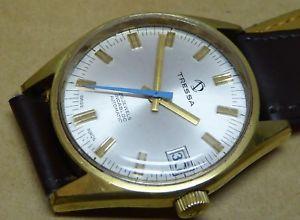 【送料無料】gents tressa watch, 25 jewels automatic, gold plate, all working but too fast
