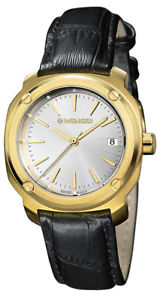 【送料無料】wenger womens edge index 100m gold tone s steelleather watch 011121104