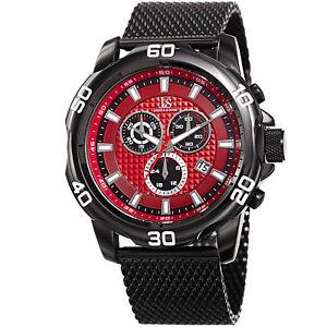 【送料無料】mens joshua amp; sons jx123bkrd chronograph date complication mesh bracelet watch