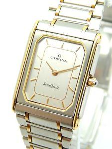 【送料無料】vintage swiss made certina quartz stainless steel watch with gift box nos