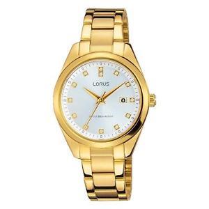 【送料無料】lorus womens 30mm goldtone steel bracelet amp; case quartz watch rj242bx9