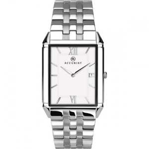 accurist london mens  classic stainless steel rectangular date watch 7031