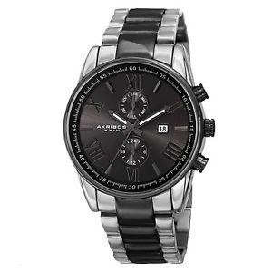【送料無料】 mens akribos xxiv ak812ttb swiss dual time twotone stainless steel watch
