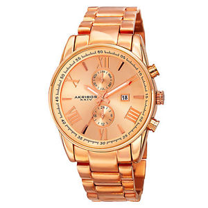 【送料無料】 mens akribos xxiv ak812rg swiss dual time rosetone stainless steel watch