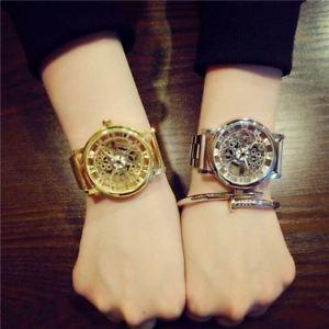 【送料無料】luxury fashion casual stainless steel men skeleton watch women dress wristwatch