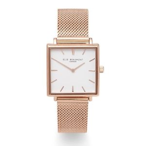 【送料無料】elie beaumont for 2018, bayswater rose gold mesh watch,