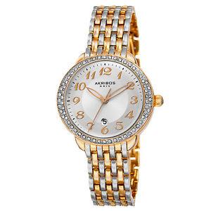 【送料無料】akribos xxiv akr831ttg womens quartz swarovski crystal bezel bracelet watch