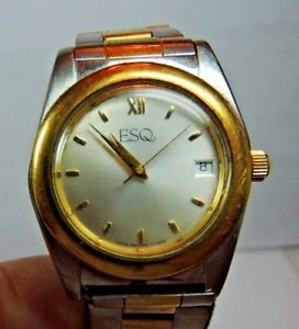 【送料無料】vintage esq movado yellow gold stainless steel mens wrist watch day indic a6