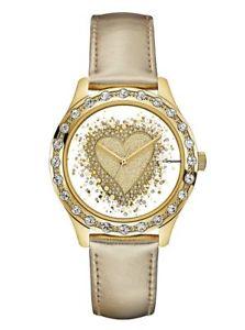 【送料無料】guess women glitter heart goldtone leather strap watch u0909l2