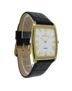 【送料無料】croton cn307165bsdw mens slim white tonneau roman numeral leather watch