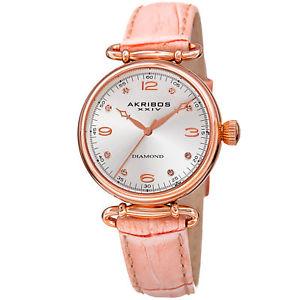 【送料無料】womens akribos xxiv ak878nu three hand quartz genuine leather strap watch