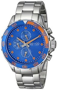 【送料無料】soamp;co york mens 50142 yacht club quartz blue bezel stainless steel watch