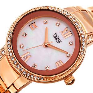 womens burgi bur187rg swarovski rose gold tone stainless steel bracelet watch