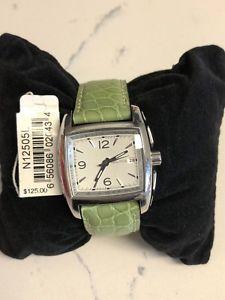 【送料無料】nautica green leather strap watch n12505l