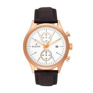 elliot grained genuine leather watch with rose gold stainless steel case and