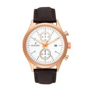 【送料無料】elliot grained genuine leather watch with rose gold stainless steel case and