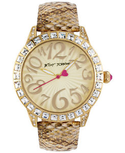 【送料無料】 betsey johnson goldtone crystal watch bj0029205 snakeskin print