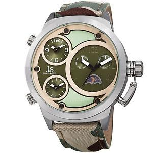 【送料無料】mens joshua amp; sons jx131gn triple time zone moon phase quartz camouflage watch