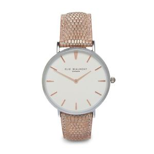 【送料無料】elie beaumont for 2018, sloane blush snakeskin leather watch,