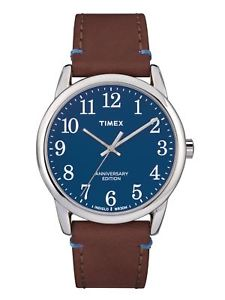 timex easy reader in silvertone, brown amp; blue