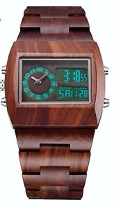 【送料無料】 natural red sandalwood100 toxic free ,swiss,digitalanalog 2 time watch