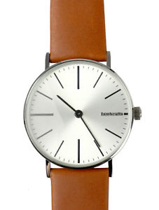 【送料無料】lambretta herren uhr watch cesare 42 cognac silver 2184sil silber, leder braun