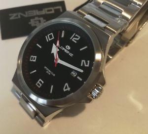 【送料無料】orologio uomo lorenz,sporting club,nero,bracciale in acciaio,solo tempo,43 mm