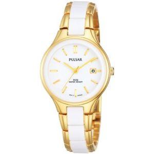 【送料無料】pulsar ph7268 ladies multicolor ceramic 28mm date mineral glass quartz watch